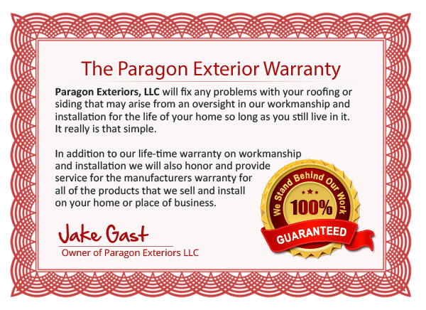 Paragon Exteriors Roofing and Siding Warranty