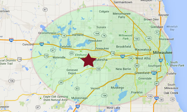 Our Milwaukee and Waukesha Roofing Service Area.