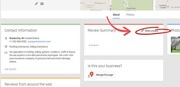 Review Paragon Exteriors LLC on Google.