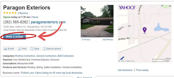 Review Paragon Exteriors on Yahoo.